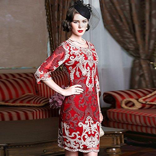 Fit Neck Dress cotyledon Round Dresses Embroidered Slim Women`s Z4CPZqxS