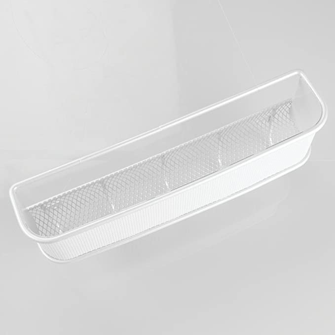 InterDesign Twillo Organizador de llaves de pared con bandeja para cartas, ganchos para la pared del pasillo de metal y plástico, blanco
