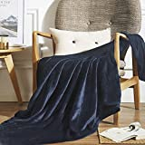 Vaulia Lightweight Microfiber Fleece Throws Blanket, Solid Color - Navy, for Year-Round Use