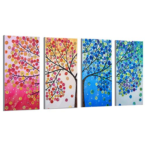 Pack of 4 Plane Wall Sticker, 5d DIY Partial Diamond Painting Colorful Tree Embroidery Paint Cross Stitch Craft for Wall Decoration Home Decor(A, 102 x 45 cm)