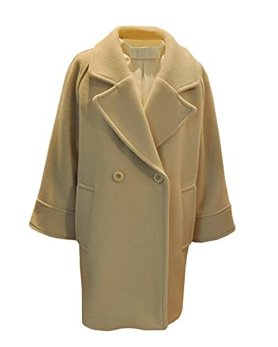 Mujer Abrigo Chaqueta Casual Manga Larga Doble Botones Trench Coat Outwear Beige S