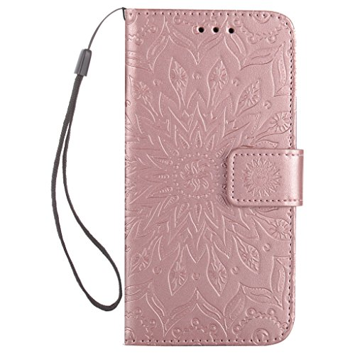 Trumpshop Smartphone Carcasa Funda Protección para Huawei Honor 6X [Marrón] 3D Mandala PU Cuero Caja Protector Billetera Choque Absorción Oro Rosa