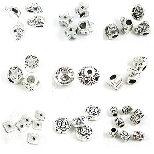 38 Pieces Antique Silver Tone Jewelry Making Charms Vine Loose Beads Rose Square Sheet Bead Caps Love Heart Flower Spacer Star Maitreya Five-pointed (Vine Bead Cap)