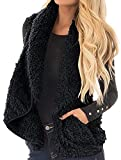 Sibylla Women's Open Front Lapel Draped Sherpa Fleece Vest Faux Fur Sleeveless Cardigan Jacket with Pocket