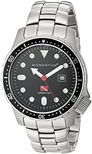 Men s Sports Watch Torpedo Pro Dive Watch by Momentum Stainless Steel Watches for Men Analog Watch with Japanese Movement Water Resistant 200M 660FT Classic Watch – Black 1M-DV44B0