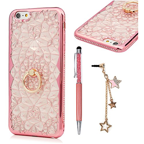 MOLLYCOOCLE iPhone 6 / iPhone 6S Case,Rhinestone Bling Metal Frame Bumper Sparkle Fashion TPU Protective Cover Case with a ring buckle - Rose - Cash Review For Gold