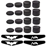 Lightbird Pack of 16 pcs Thumb Grips with 4 Pack Light Bar Decal Stickers for PS4 Controller - Silicone Thumb Stick Grips Cap Cover for PS2, PS3, PS4, Xbox 360, xbox one, Wii U Controller