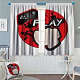 Angoueleven Gamer Thermal/Room Darkening Window Curtains Gaming Illustration with Play Quote and Pointing Finger Abstract Squares Design Customized Curtains Cream Black Red size:72''x63''