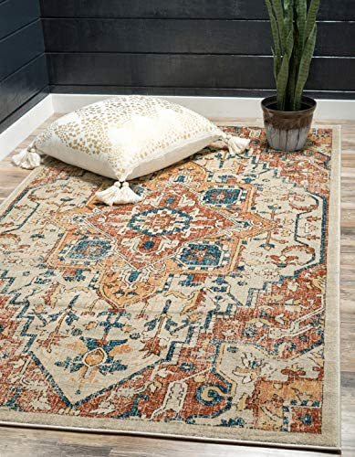 Unique Loom Oslo Collection Distressed Botanical Medallion Beige Area Rug 7 x 10