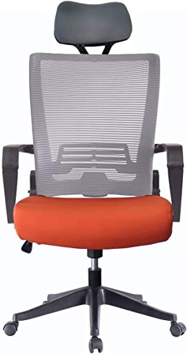 5 Minutes Completely Easy Installation Ergonomic Office Foldable Folding Swivel Home Mesh Back Task Chair Grey/Orange W/Head Rest