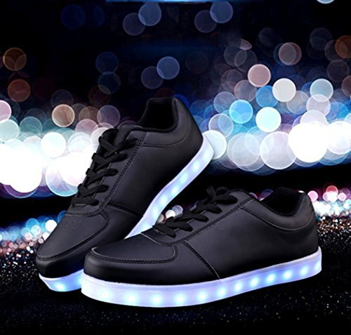a De Zapatillas USB Negro Toalla Zapatos junglest Flash Colors Unisex 7 Cut Low Luminosas Carga LED Luz de Peque Presente 66q7xnEa