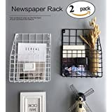 kuso Hanging File Holder - Wall Mounted Metal Mesh Basket Wire Magazine Rack - Shelf Office Folder Organizer with Name Tag Slot for Home & Office (2 Pack)