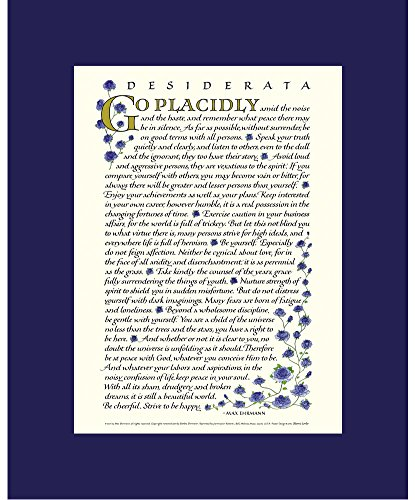 Desiderata By Max Ehrmann Calligraphy With Blue Roses
