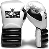 KONUNGR Boxing Gloves for Women, Men, Youth - Premium Gloves with Laces for Sparring, Speed Work Training with Punching Bag or Focus Mitts - Best for Boxing, Kickboxing, MMA (White-Black, 14oz)