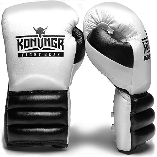 (KONUNGR Boxing Gloves for Women, Men, Youth - Premium Gloves with Laces for Sparring, Speed Work Training with Punching Bag or Focus Mitts - Best for Boxing, Kickboxing, MMA (White-Black, 14oz))
