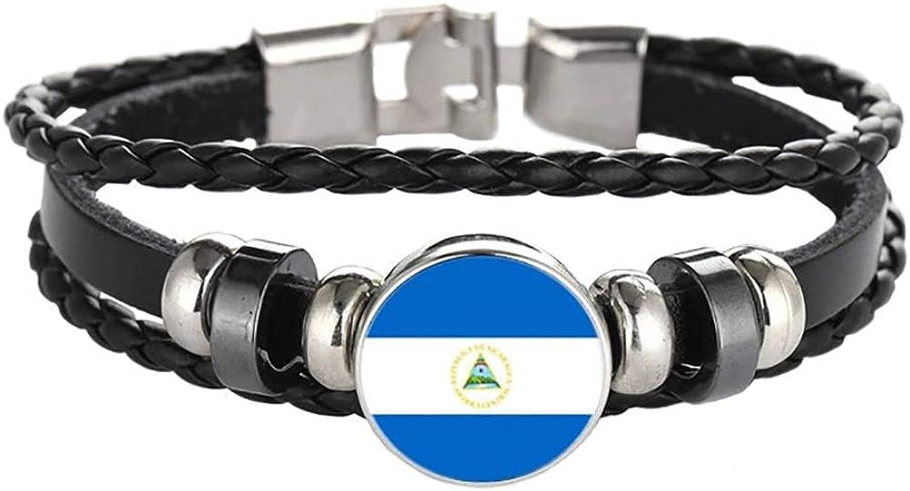 Wedare Souvenir Bandera de Nicaragua Pulsera Trenzada Cadena de Cuero Pulsera de Cristal Recuerdo, Pulsera Hecha a Mano de Moda para Hombre y Mujer día