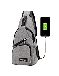 Backpack with USB Charging PortAnti Theft for Women Men,Casual Sling Bag Shoulder Cross-Body Chest Bag for Travel/Hiking/Outdoor Sport