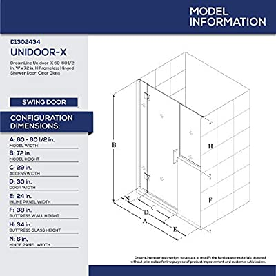 DreamLine unidoor-x con bisagras para mampara de ducha: Amazon.es: Bricolaje y herramientas