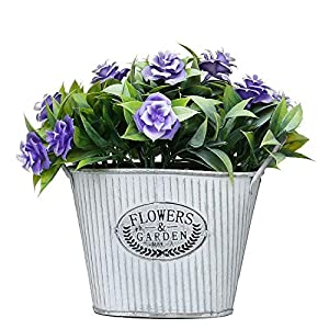 MIXROSE Small Artificial Fake Faux Wild Purple Rose in Rustic Metal Pot for Home Kitchen Counter Table Desktop Office Décor 39