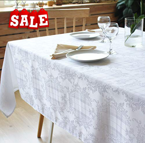 e Tablecloth Polyester Table Cover - Rectangular Square Round Washes Easily Non Iron - Thanksgiving Christmas New Year Eve Gift Dinner Wedding (WHITE, Tablecloth Square 52