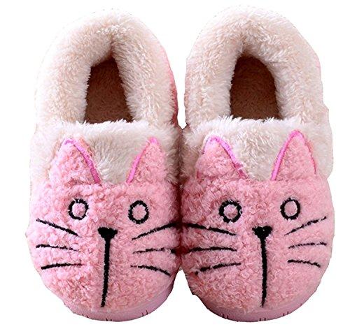 Miyang Inverno Donna / Capretto Famiglia Simpatico Gatto Stivaletti Pantofole Rosa Casa