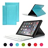 iPad Air 2/iPad 6 Keyboard Case, Symbollife Blue Folding PU Leather Folio Case Cover & Stand with Removable Bluetooth Keyboard For Apple iPad Air 2 (iPad 6th Gen) 2014 Version