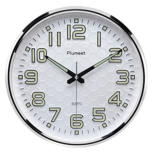 Plumeet Night Light Wall Clocks - 13 Inches Clock with Silent Non-Ticking Glowing Function - Good for Home Kitchen… 2