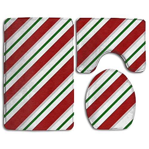 (Fallake Baby Bath Mat, 3 Piece Bathroom Rug Set Christmas Candy Canes Stripe, Skidproof Flannel Contour Rugs Antibacterial Cover Mat for Men Women Kids, Bathroom Rugs, Bathroom Accessories)