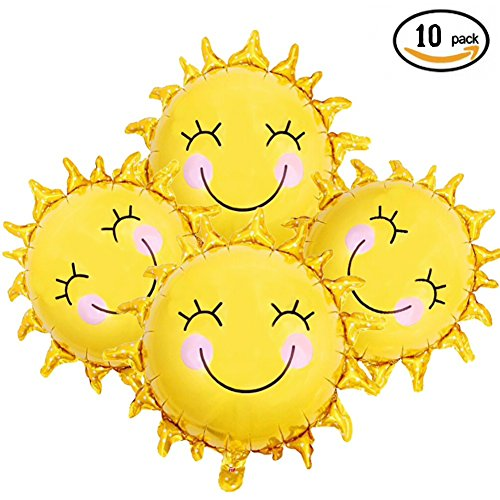 10pcs 28 inch Sunshine Sun Smile Face Shaped Foil Mylar Balloons Helium Balloon Happy Birthday Sunny Summer Day Theme Party Supplies Wedding - Sunnies Summer