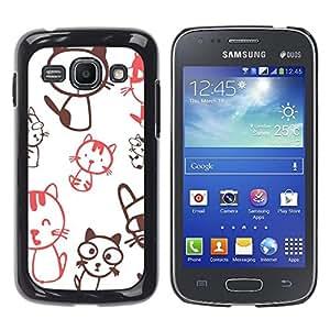 Paccase / SLIM PC / Aliminium Casa Carcasa Funda Case Cover - Cute Crazy Cat Pattern - Samsung Galaxy Ace 3 GT-S7270 GT-S7275 GT-S7272