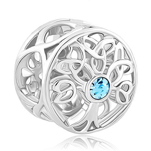 CoolJewelry Sterling Silver Family Tree Of life March Birthstone Charm Beads For Bracelets - Pandora Charm March Birthstone