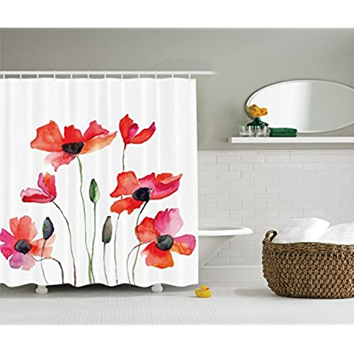Decor Collection Poppies Wildflowers Nature Painting Watercolor Effect Polyester Fabric Bathroom Shower Curtain Set With Hooks Orange Red Black Olive