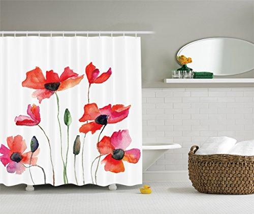 Ambesonne Watercolor Collection Wildflowers Polyester