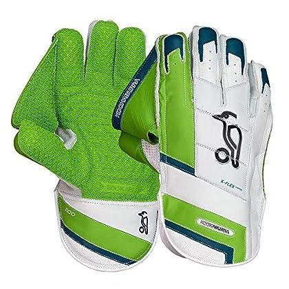 Image of KOOKABURRA 2019 1100 Adults Cricket Wicket Keeping Keeper Gloves White/Green