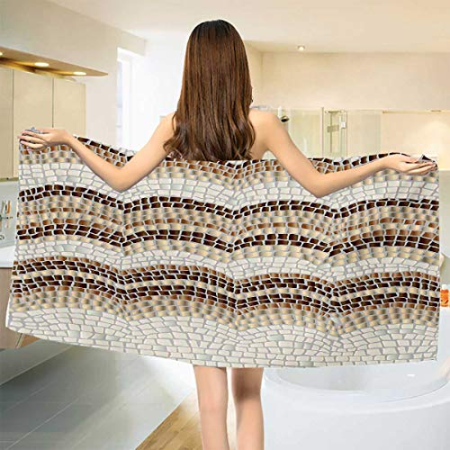 Chaneyhouse Beige,Bath Towel,Gradient Colored Mosaic Waves Setting Antique Roman Royal Dated Retro Patterns,Bathroom Towels,Beige Tan Brown Size: W 31.5