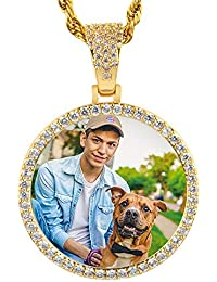 Hip Hop Memory Pendant with Picture for Men Women Personalized Photo Round Necklace