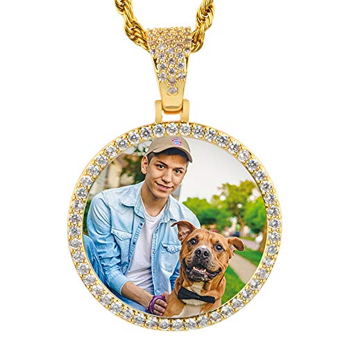 YIMERAIRE Custom Personalized Circle Memory Medallions Pendant Necklace with CZ Rhinestone with Tennis Chain Or Twist Chain