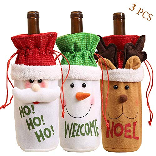 EAGKORD Christmas Wine Bottle Bag Cover, 3 Pack Decoration Santa Reindeer Snowman Wine Bottle Covers for Table Holiday Decorations Gift Bag Christmas New Year Party Decoration