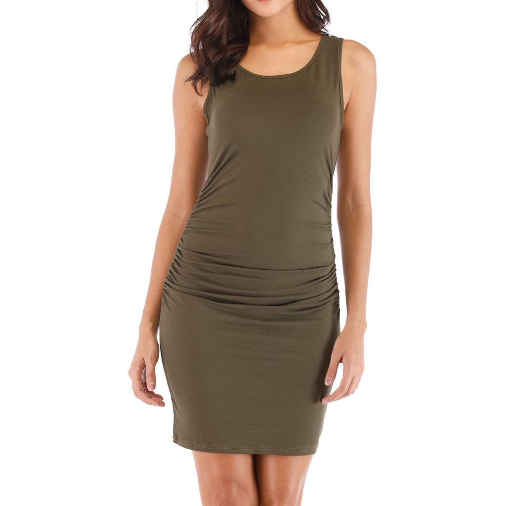 Kalinyer Women's Sexy Ruched Bodycon Dress Casual Solid Sleeveless Round Neck Knee Length Tank Mini Party Club Dress Green