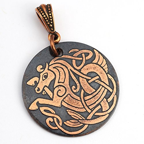 Celtic seahorse pendant, round flat etched copper sea horse jewelry, etching, optional necklace, 28mm