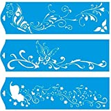 Set of 3 - 28cm x 8cm Reusable Flexible Plastic Stencil for Graphical Design Airbrush Decorating Wall Furniture Fabric Decorations Drawing Drafting Template - Butterflies Flowers Music Notes