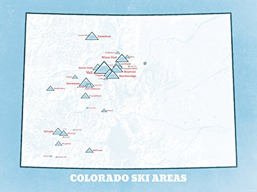 Colorado Ski Resorts Map 18x24 Poster (White & Light Blue) - Silverton Four Light