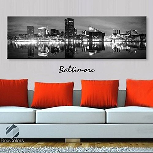 (Original by BoxColors Single panel 3 Size Options Art Canvas Print Baltimore Skyline Panoramic Downtown Night black & white Wall Home Office decor (framed 1.5