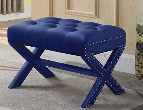 Iconic Home Keila Updated Neo Traditional Polished Nailhead Tufted Velvet X Ottoman, Navy (End Royal Blue)