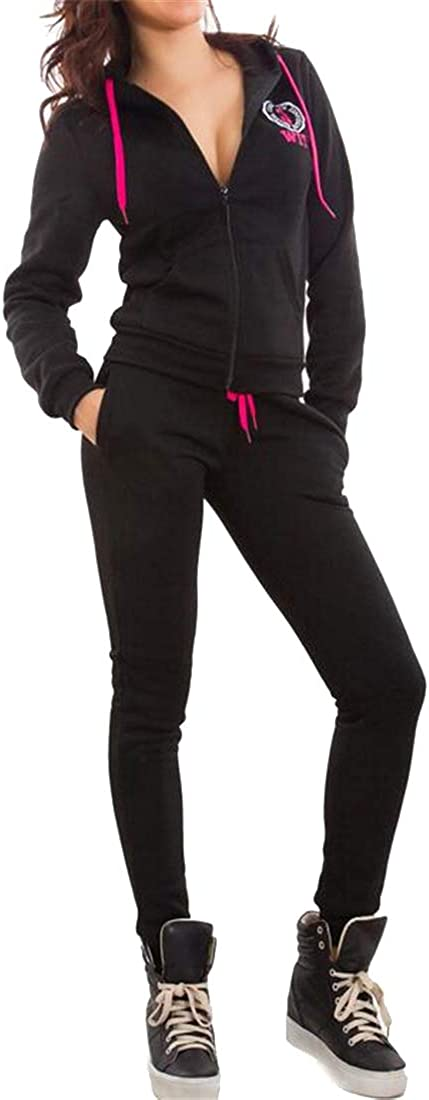 Mstyle Womens Jacket /& Sweatpants Hoodie 2 PCS Casual Sport Outfits Tracksuit Sweatsuits