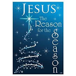 Jesus Is the Reason for the Season - Standard Size 28 Inch X 40 Inch Decorative DOUBLE SIDED Flag