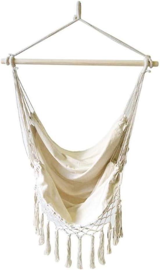 LKU Silla de Malla de Cuerda de algodón Estilo Boho de Hamaca portátil al Aire Libre jardín Interior Dormitorio Bar Asiento, 1