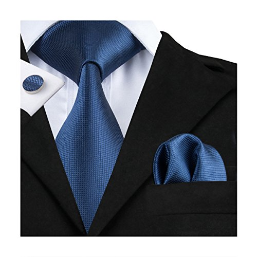 Hi-Tie Mens Blue Solid Woven Silk Tie Pocket Square Cufflinks Set