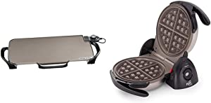 Presto Ceramic 22-inch Electric Griddle with removable handles, One Size, Black & 03510 Ceramic FlipSide Belgian Waffle Maker,Black