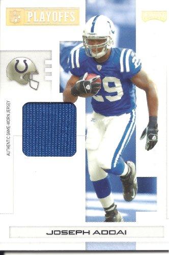Joseph Addai Nfl Jersey - Joseph Addai 2007 Playoff NFL Playoffs Materials Jersey Card #43 07/25 Indianapolis Colts